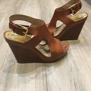 MICHAEL Michael Kors Shoes - MICHAEL KORS Josephine Brown Wedge Sandals 8.5